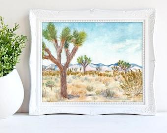 Joshua Tree National Park Watercolor Art Print - California desert landscape, Joshua Tree painting, High Desert Art, Travel Souvenir