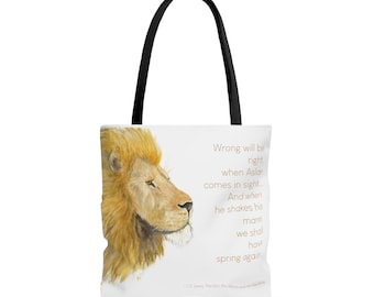 Aslan Watercolor Tote Bag - Narnia Quote, Christian Art, C.S. Lewis Quote, Lion painting, Watercolor Lion Art