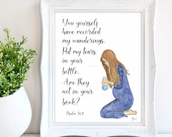 Miscarriage Watercolor Print - Scripture Grief Art| Miscarriage gift | Baby loss art | Tears in bottle Bible Verse | Miscarriage keepsake