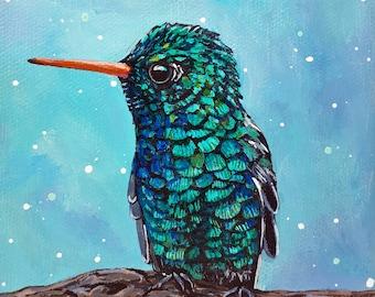 Teal Hummingbird original Acrylic painting