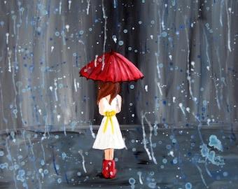 "5"" by 7"" giclee Print of girl in the rain - Walk Through The Rain"