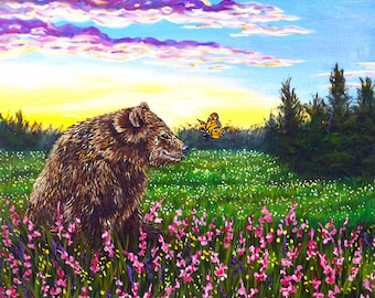 Original Spring landscape Bear Butterfly Acrylic painting