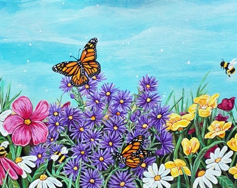 Field of Wild Flowers Acrylic Painting