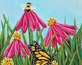 Monarch Butterfly Echinacea Acrylic painting
