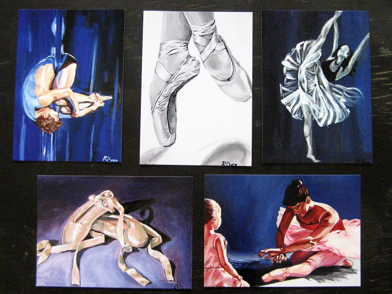 dance giclee ballet postcards - set of 5