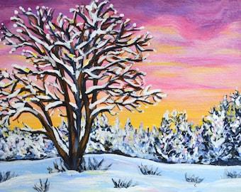 Original sunrise landscape - acrylic painting study 7