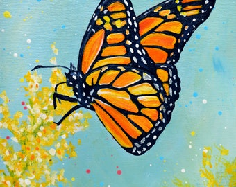 Monarch Butterfly Original Acrylic Painting