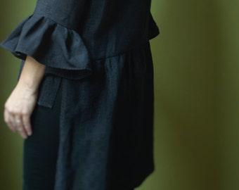 Black Wool Tunic/ Bell Sleeve Asymmetrical Tunic by NervousWardrobe