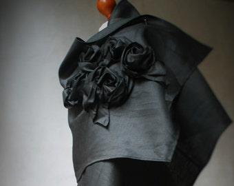 Linen Black Shawl by NervousWardrobe on Etsy