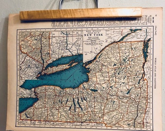 Vintage Pennsylvania and Oregon  Original Antique  Atlas Map 1936 Wall Art Housewarming Decor 1930/'s