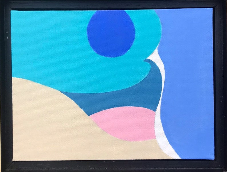 Sun and Sea original abstract acrylic painting on canvas