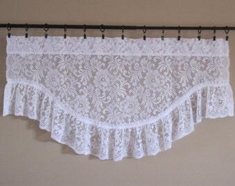 "Curtain Lace Valance Flowers 38"" W x 20.5"" L Victorian Cottage Chic Vintage White txtl 288"