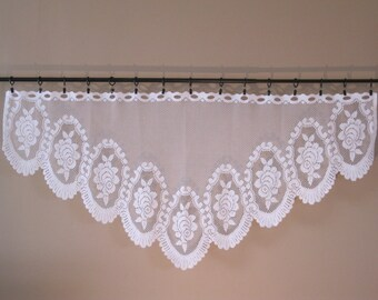 "Curtain Lace Valance Flowers 55"" W x 25"" L Victorian Cottage Chic Vintage White txtl 296"
