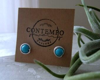 Turquoise Stud Earrings, Sterling Earrings, Hypoallergenic, Turquoise Posts, Sterling Stud Earrings, Turquoise Earrings, Small Stud Earrings