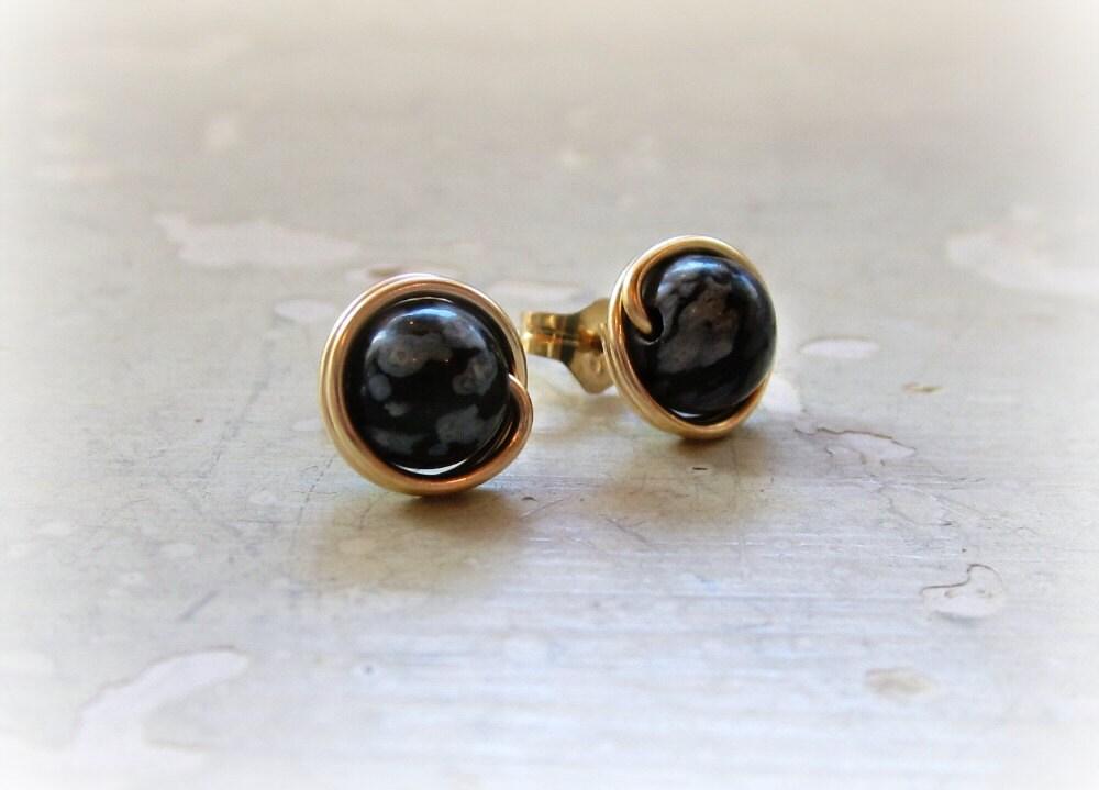Schneeflocke Obsidian Ohrstecker schwarze Ohrstecker Gold | Etsy