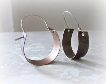 Brushed Brass Hoops, Brass Hoop Earrings, Metalwork Earrings, Brass Jewelry, Hoop Earrings, Brushed Brass Earrings, Aged Brass Earrings