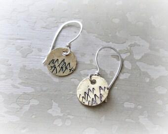 Mountain Earrings, Brass Earrings, Sterling Brass, Stamped Earrings, Mountain Jewelry, Nature Lover, Outdoor Jewelry, Hiker Gift
