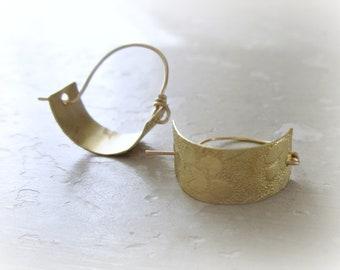 Brass Hoops Small, Hoop Earrings Brass, Metalwork Earrings, Brass Jewelry, Little Hoop Earrings, Floral Hoop Earrings, Small Hoop Earrings