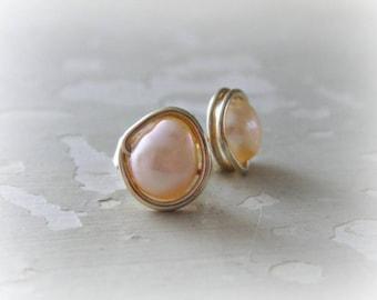 Peach Pink Studs, Freshwater Pearl Studs, Gold Stud Earring, Natural Pearl Earrings, June Birthstone, Wedding Jewelry, Real Pearl Earrings