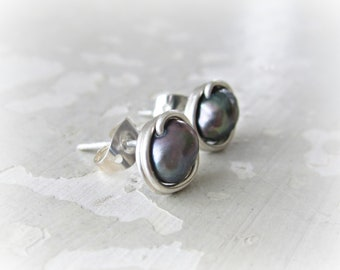 Peacock Pearl Studs, Sterling Earrings, Small Pearl Studs, Freshwater Pearl Earrings, Small Stud Earrings, Sterling Studs, Free Shipping
