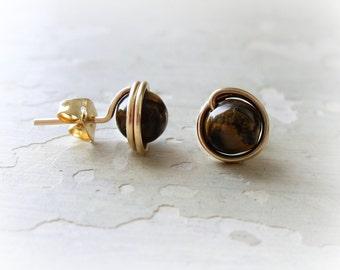 Tiger Eye Studs, Brown Stud Earrings, Gold Filled Studs, Gemstone Earrings, Round Stud Earrings, Natural Stone Earrings, Brown Gold Studs