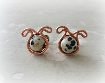 Dog Stud Earrings, Pet Lover Gift, Dog Earrings, Spotted Dog Studs, Dog Jewelry, Small Dog Earrings, Dog Lover, Dalmatian Jasper Studs
