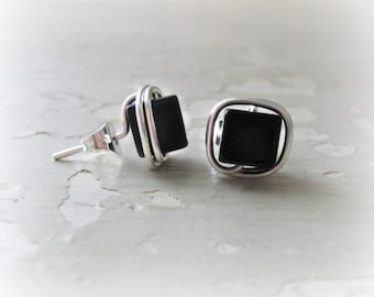 Square Onyx Studs, Cube Stud Earrings, Sterling Studs, Wire Wrap Studs, Black Stud Earrings, Black Onyx Posts, Sterling Black Studs