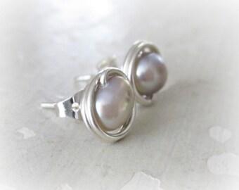 Pearl Stud Earrings, Silver Stud Earrings, Sterling Studs, Natural Pearl Studs, Freshwater Pearl Studs, Small Stud Earrings, Hypoallergenic
