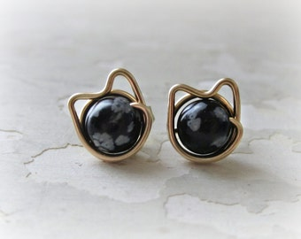 Cat Crazy Earrings, Spotted Cat Studs, Gold Cat Studs, Gold Cat Earrings, Cat Jewelry, Cat Lover Gift, Gold Post Earrings, Crazy Cat Lady