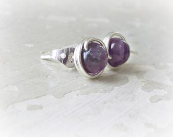 Amethyst Stud Earrings, Sterling Wire Wrap, Amethyst Post Earrings, February Birthstone, Purple Studs, Small Stud Earrings, Hypoallergenic