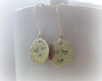 Brass Heart Earrings, Solid Brass Earrings, Valentines Day, Stamped Heart Earrings, Heart Dangle Earrings, Love Earrings, Small Dangles