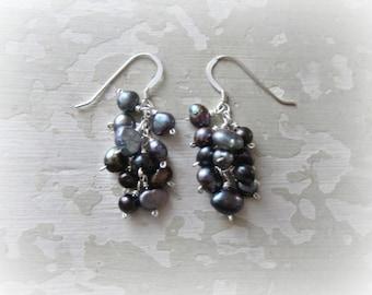 Cluster Pearl Earrings, Freshwater Pearl Earrings, Small Cluster Earrings, Peacock Pearl Earrings, Sterling Pearl Earrings, Hypoallergenic