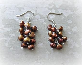 Cluster Pearl Earrings, Freshwater Pearl Earrings, Small Cluster Earrings, Real Pearl Earrings, Sterling Pearl Earrings, Hypoallergenic