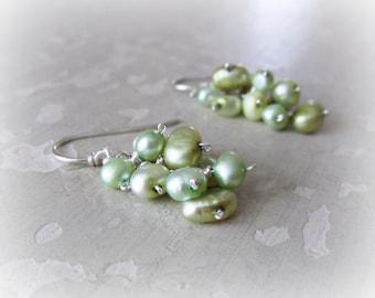Pearl Earrings, Freshwater Pearl Earrings, Cluster Pearl Earrings, Natural Pearl Earrings, Sterling Pearl Earrings, Green Pearl Earrings