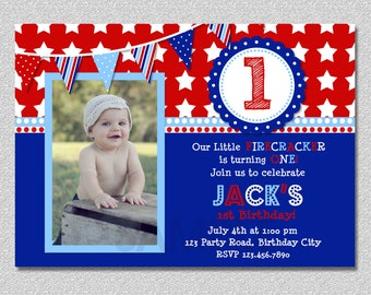 4th Of July Birthday Invitation Firecracker