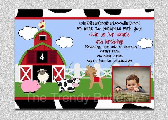 Farm Animals Birthday Invitation Animal Barnyard