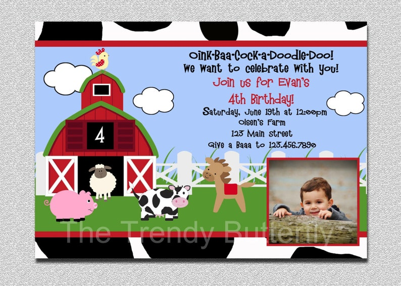 Farm Animals Birthday Invitation Animal Barnyard Party