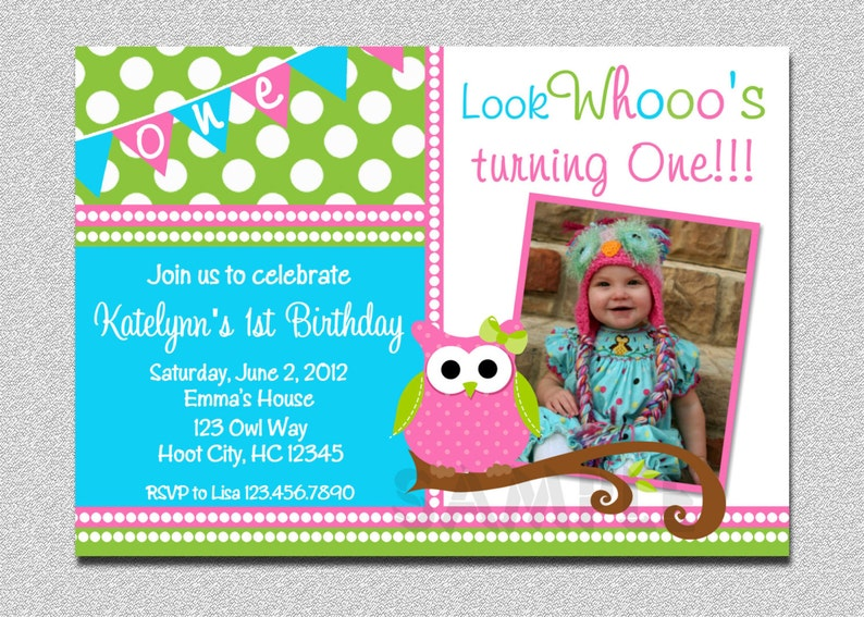 Owl Birthday Invitation Party Girls