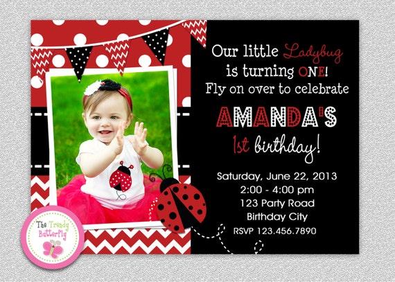 Ladybug birthday invitation ladybug 1st birthday invitation etsy image 0 filmwisefo