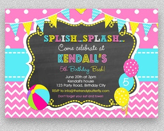 Girls Pool Party Invitation , Children's Pool Party Invitation, Summer Pool Party Invitation, Kids Pool Party Invitation, Beach ball Invite