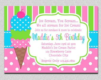 Ice Cream Birthday Invitations Pink and Green Ice Cream Birthday Party Invitations Printable