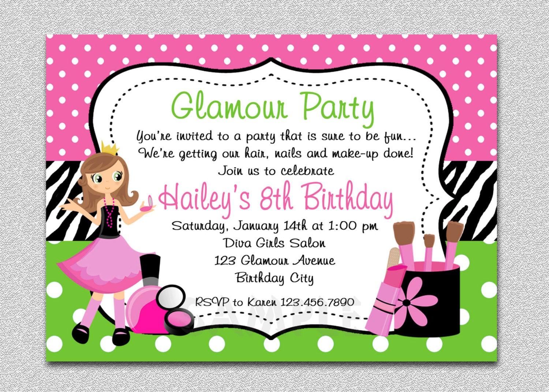 Glamour Girl Birthday Spa Invitation Etsy