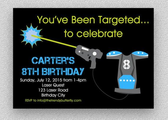 Laser Tag Invitation Laser Battle Birthday Party Laser Tag Etsy