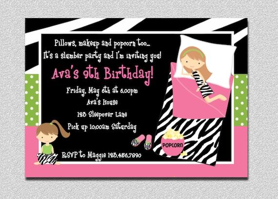 Pajama Birthday Invitations Sleepover Birthday Invitations Etsy