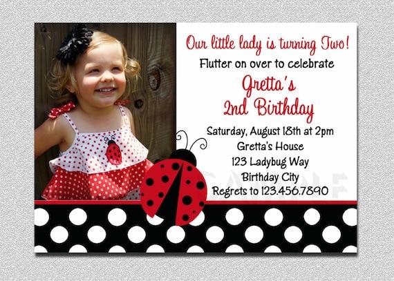 Ladybug Birthday 1st Invitation Party Girl Photo