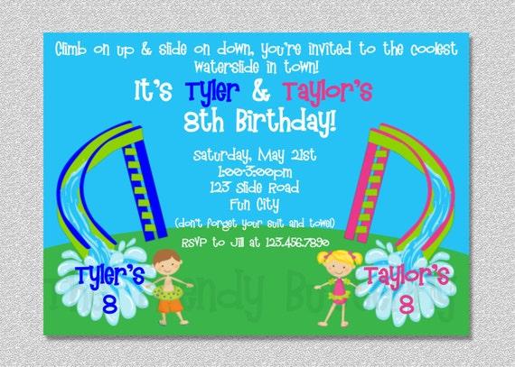 Twins Siblings Waterslide Birthday Party Invitation Printable