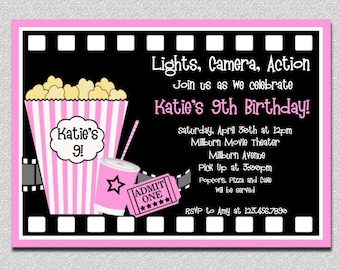 Movie Birthday Invitations, Pink Movie Night Birthday Party Invitation, Girls Movie Birthday Invitation,  Movie Night Birthday Invitation