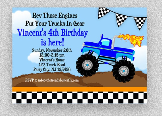 This is an image of Monster Truck Birthday Invitations Free Printable within semi truck