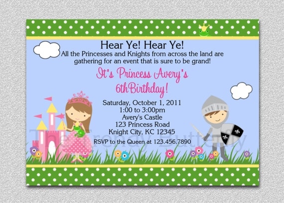 princess knight party invitation princess knight birthday party