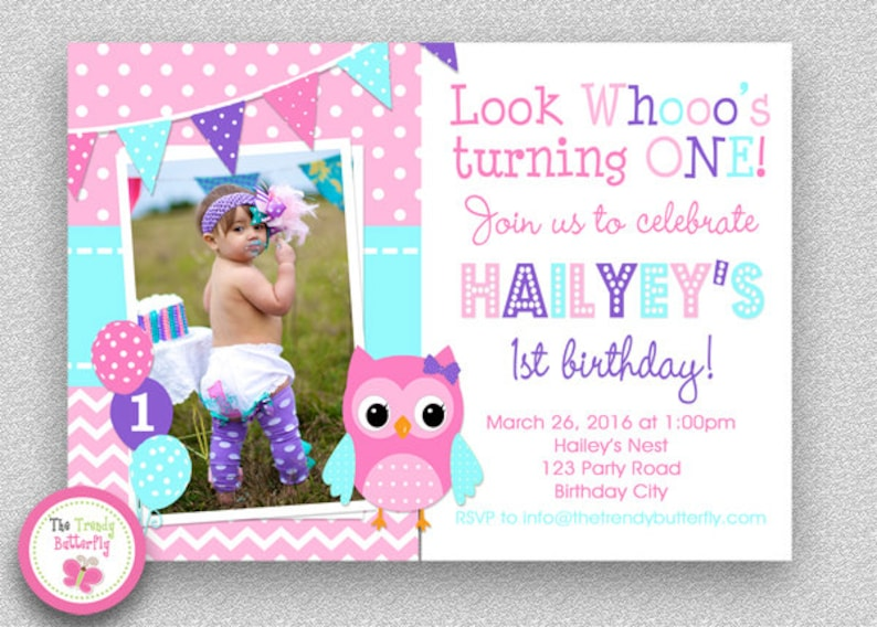 Girls Birthday Invitation 1st